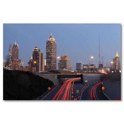 Αφίσα (Atlanta, αρχιτεκτονική, κτίρια, φώτα, δρόμοι, πόλη)